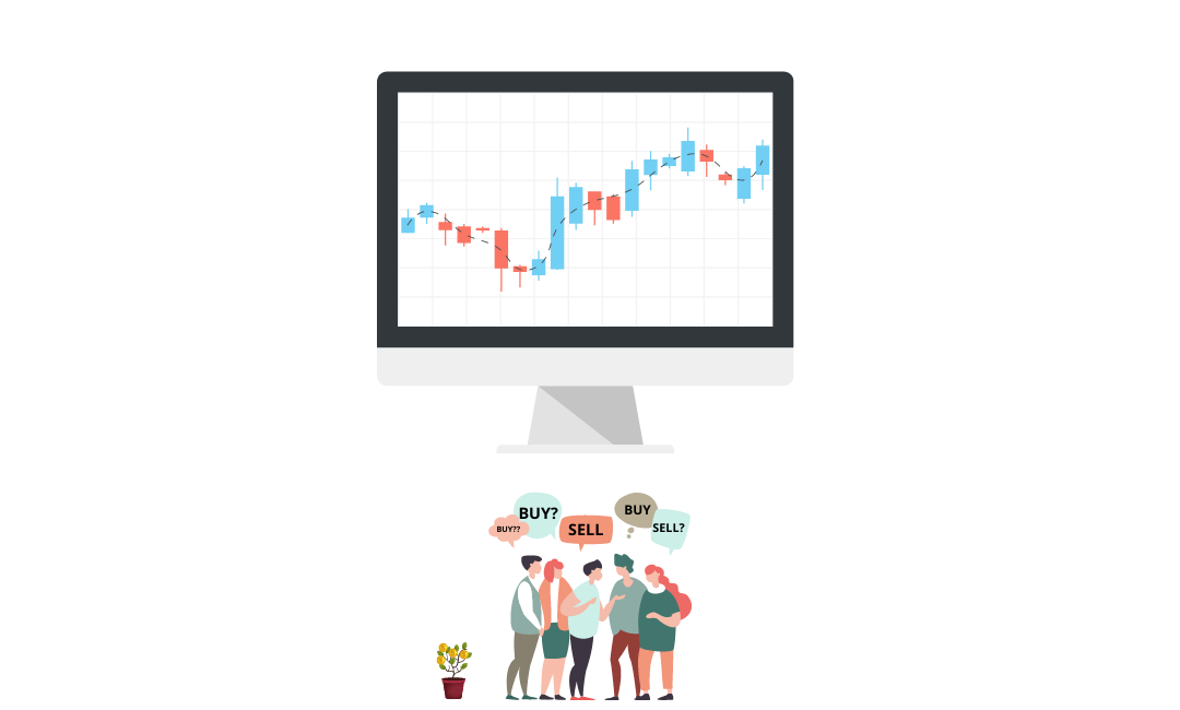 illustration of people in the stock market